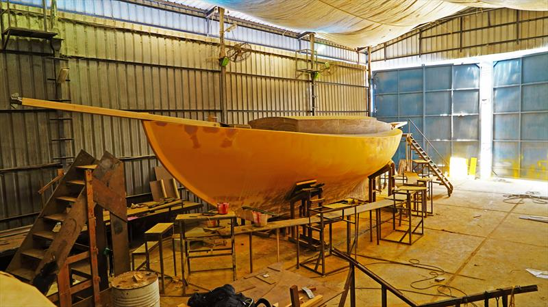 Indian skipper Abhilash Tomy will be racing a replica of Sir Robin Knox-Johnston's Suhaili. The yacht is  now nearing completion at the Aquarius shipyard on Goa - photo ©  Abhilash Tomy