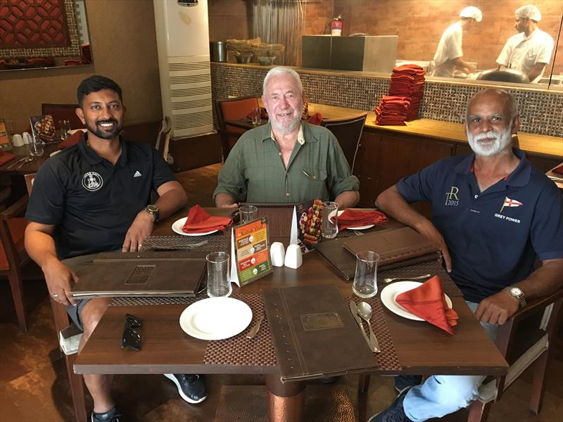 Sir Robin Knox-Johnston met with Abhilash Tomy, (left) and Dilip Donde (right) two of India's best-known sailors, during a recent visit to India to learn about the Suhaili replica being built for the 2018 GGR - photo © Golden Globe Race