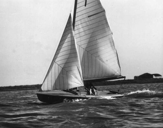 Coronet, sailed by the designer John Westell and the owner and sponsor of the project, Max Johnson. After the IYRU Trials at La Baule, the Coronet would lose some waterline length and re-emerge as the 505 (because the IYR didn't like the name 'Coronet'!) photo copyright Westell Family taken at Yacht Club de La Baule and featuring the Classic & Vintage Dinghy class