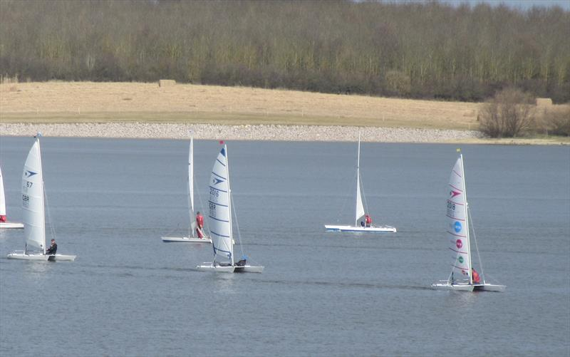 Paul Grattage leads race 2 during the Sprint 15 Icicle at Grafham