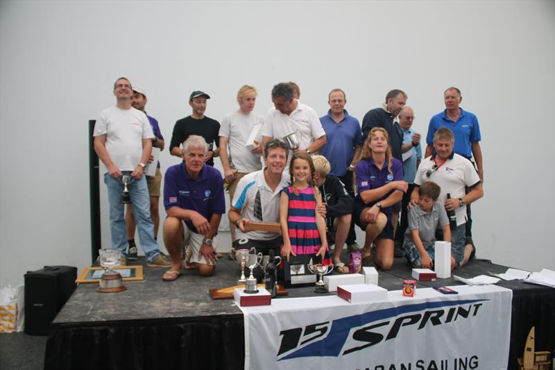 Prize winners in the Sprint 15 Nationals at Pwllheli - photo © Pauline Love & Holly Farthing
