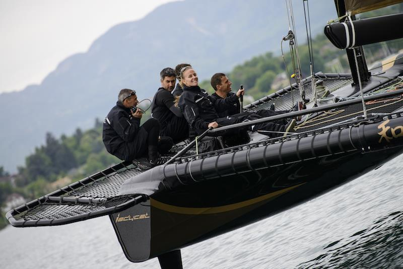 Ladycat powered by Spindrift racing Decision 35 catamaran training on Lake Geneva - photo © Chris Schmid / Spindrift racing