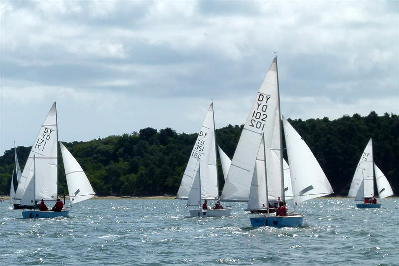 Downwind in race 1 off Brownsea Island during the Devon Yawl Nationals at Parkstone photo copyright Mike Roberts taken at Parkstone Yacht Club and featuring the Devon Yawl class