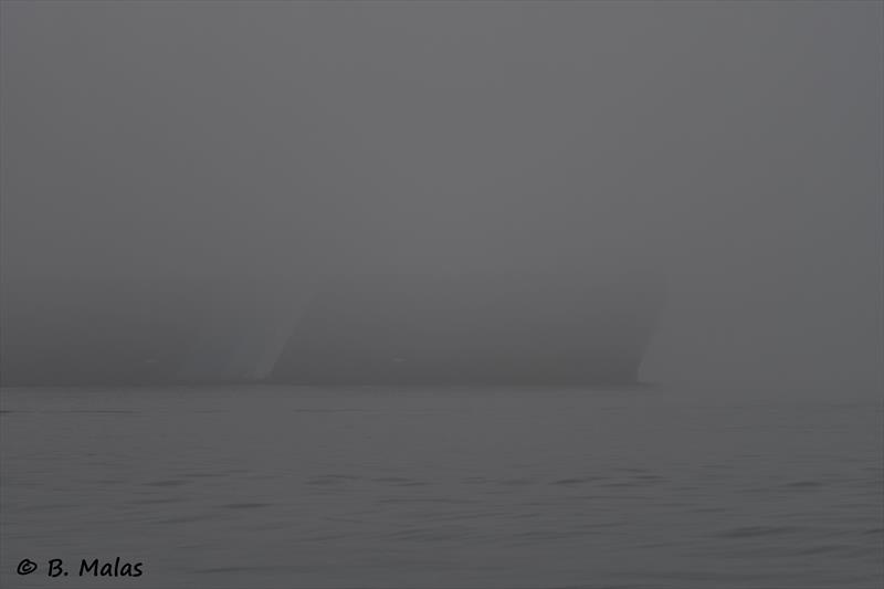 Car carrier in the fog near Calshot during the Diam 24od Spring Championship at Hamble - photo © Bertrand Malas