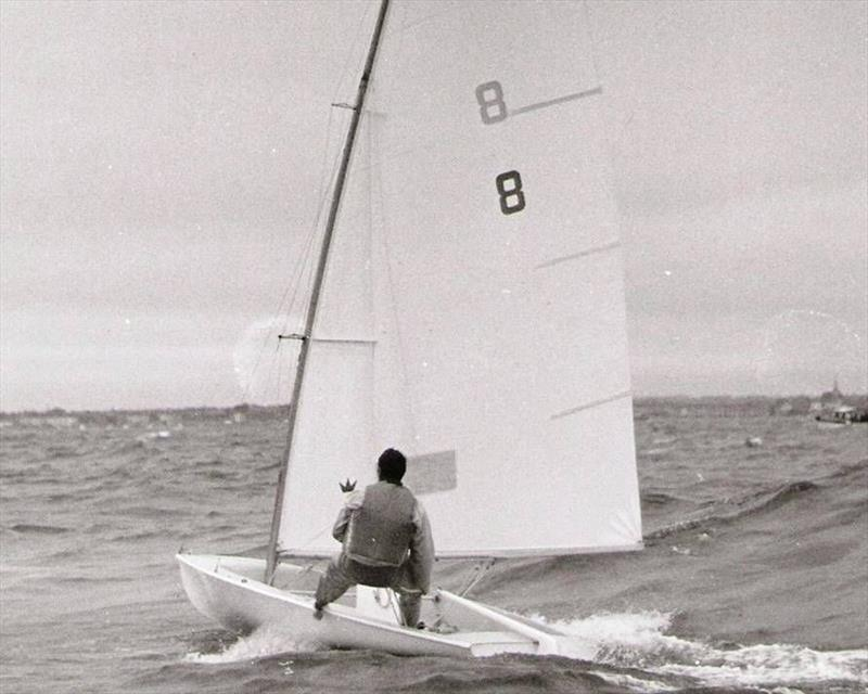 Paul Elvstrom sailing the prototype Trapez at Weymouth. The boat was so advanced in so many areas that it was difficult to draw comparisons with the other entries. But Elvstrom would prove to the IYRU that single handed trapezing was possible - photo © D. Thomas Family