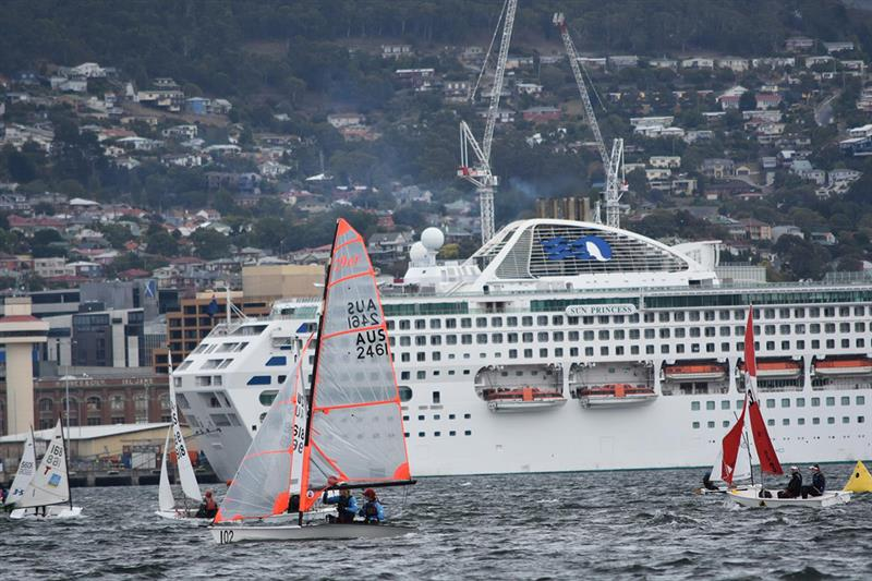 Two cruise ships in Hobart made a background to the regatta. - photo © Jane Austin