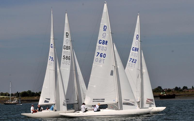 Close racing in the Dragon class at the 125th anniversary Burnham Week - photo © Alan Hanna