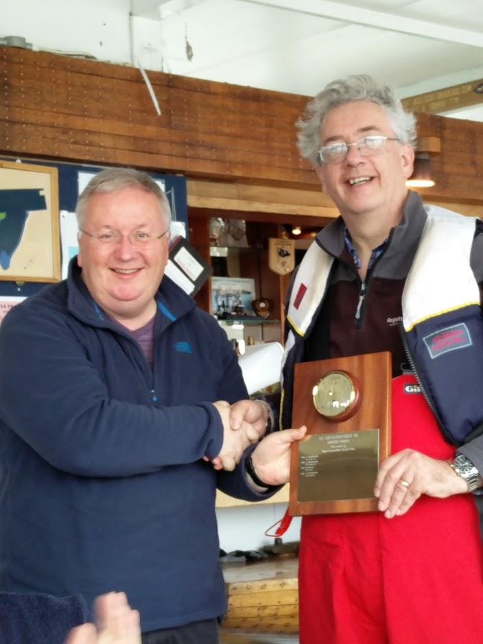 Alan Tickle presents the Barometer Trophy to Winner Df65 John Tushingham after the RC Laser and Df65 Winter Series photo copyright John Sharman taken at West Lancashire Yacht Club and featuring the RG65 class