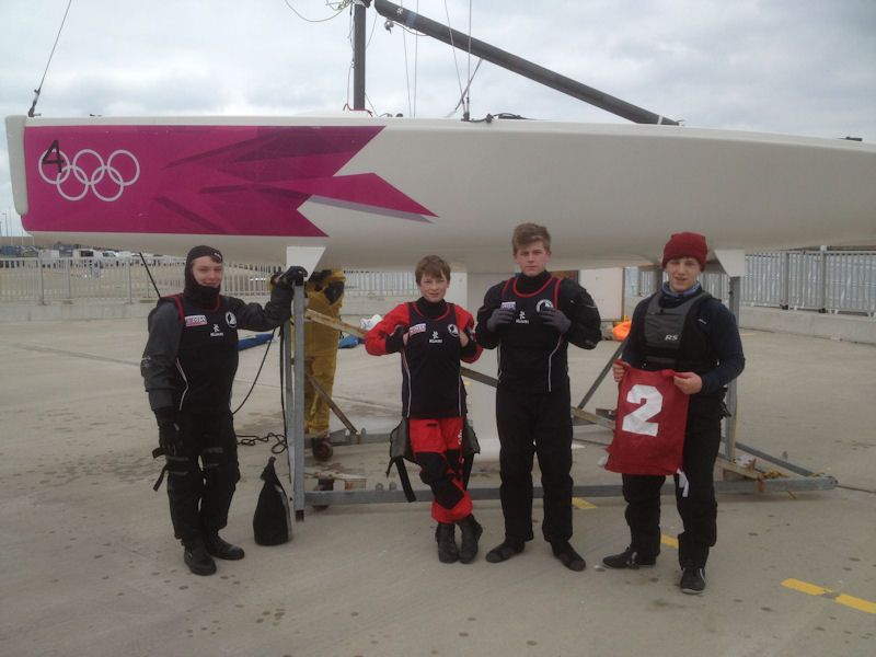 The Derbyshire Youth Sailing team (l to r) Ben Haynes, Josh Haynes, Harrison Coppinger & Lewis Coppinger at the Royal Yachting Association (RYA) Winter Match Racing Series qualifier