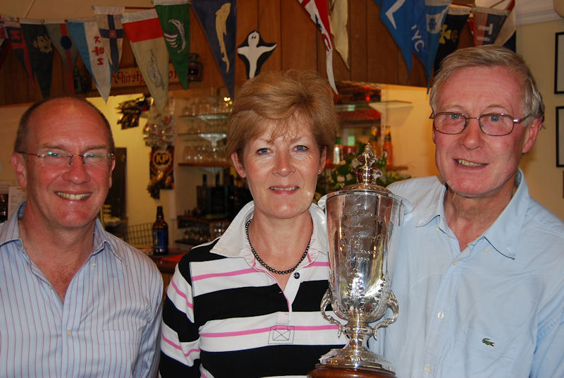 Martin and Laurence Davies of Rugby and Daventry SC winner of the Henley Sailing Club Commodore's Cup with Tim Saunders, Commodore of HSC photo copyright Duncan Mackay taken at Henley Sailing Club and featuring the Enterprise class