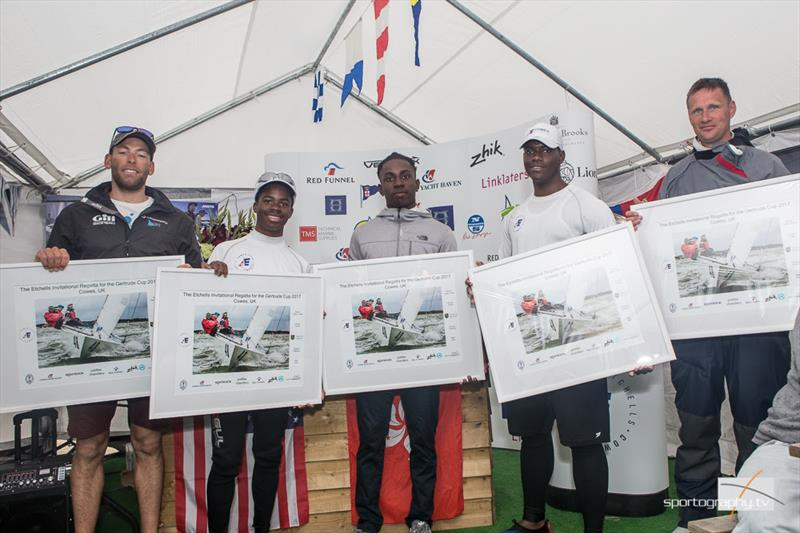 Grieg City Academy team take a special prize at the Gertrude Cup 2017 photo copyright www.sportography.tv taken at Royal Thames Yacht Club and featuring the Etchells class