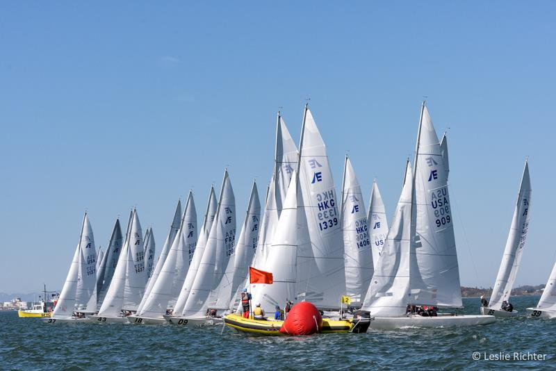 Mayhem on the starting line for the first start of the Etchells Worlds in San Francisco photo copyright Leslie Richter / Rockskipper Photography taken at San Francisco Yacht Club and featuring the Etchells class