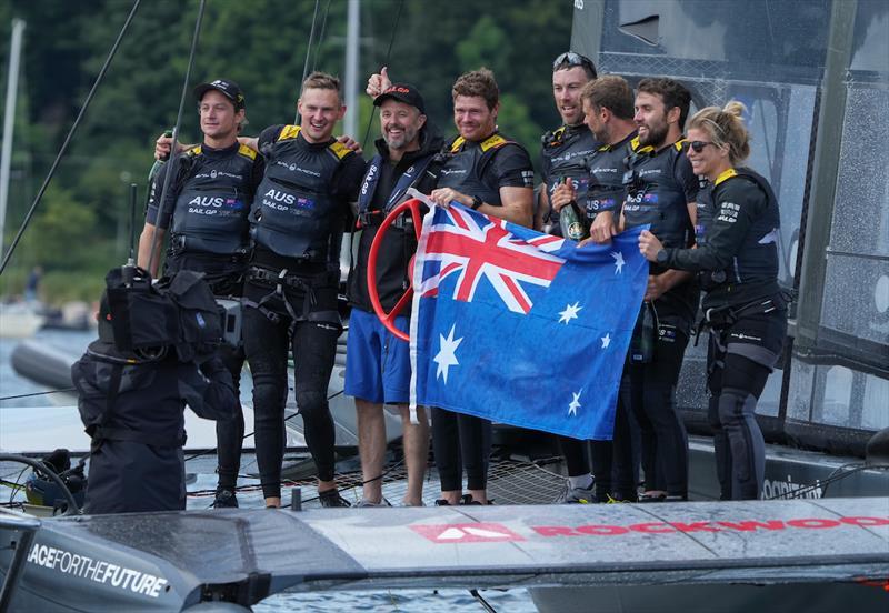 Frederik, Crown Prince of Denmark, 6th sailor on the Denmark SailGP Team presented by ROCKWOOL, congratulates Australia SailGP Team after they win the final race - photo © Ian Roman for SailGP