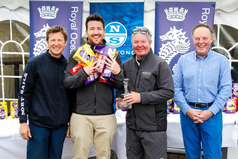 Sir Keith Mills and son Alex receive their prizes for Invictus' FAST40 victory at the RORC Easter Challenge - photo © Paul Wyeth / www.pwpictures.com