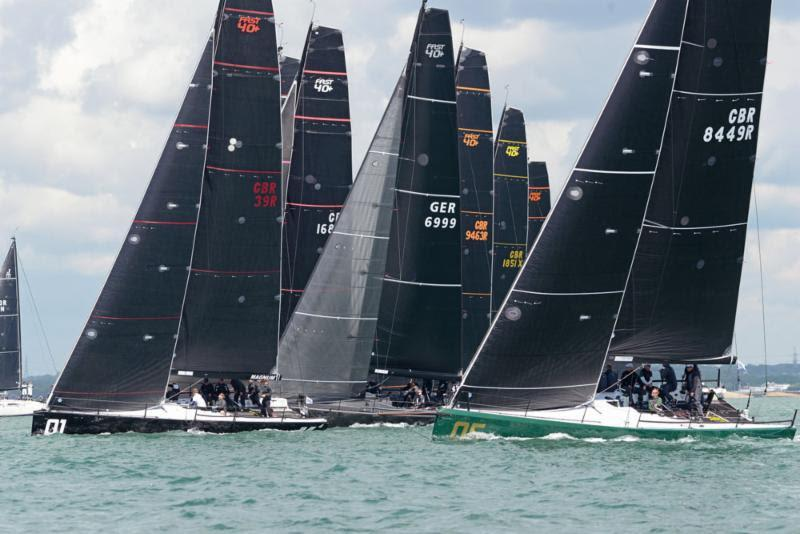 Rebellion (green hull) holds her own in the FAST 40  fleet to tie first place on day 1 of the Vice Admiral's Cup - photo © Rick Tomlinson / www.rick-tomlinson.com