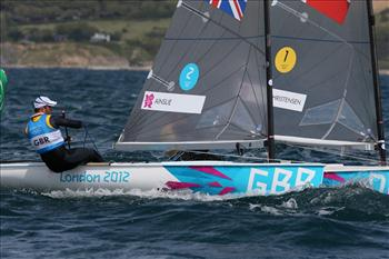 Ben Ainslie and Jonas Hogh-Christensen on day three of the London 2012 Olympic Sailing Competition