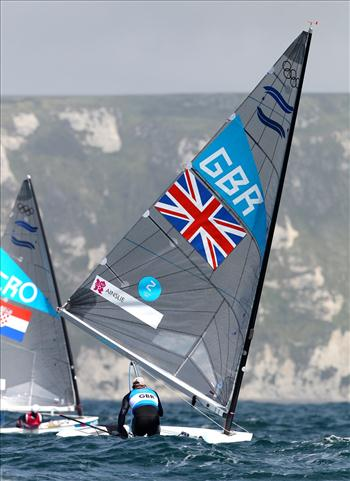 Finn racing on day six of the London 2012 Olympic Sailing Competition