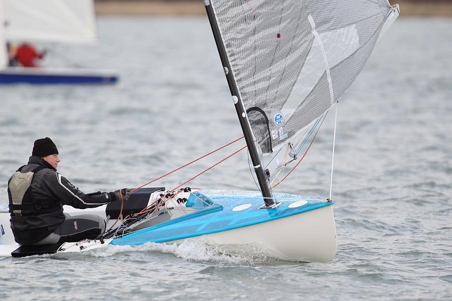 John Tremett enjoying the conditions in Snowflake race 2 photo copyright Ben Godwin taken at Chichester Yacht Club and featuring the Finn class