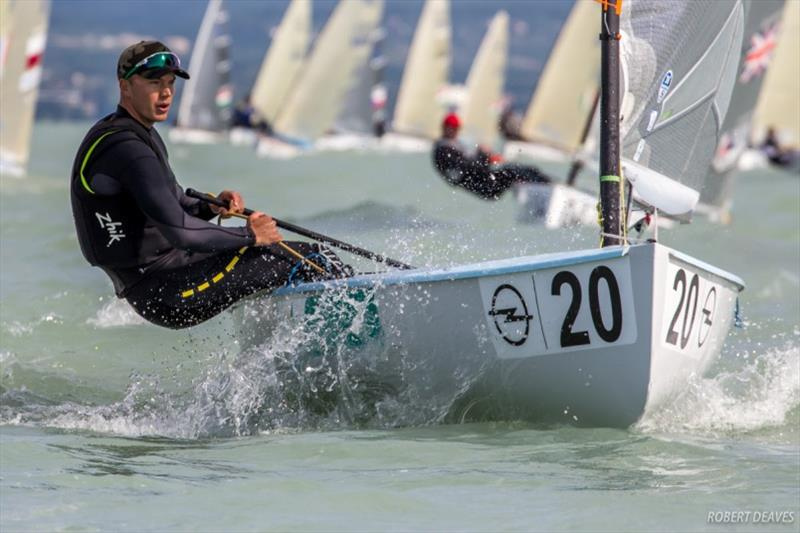 Jake Lilley at the 2017 Opel Finn Gold Cup on Lake Balaton photo copyright Robert Deaves taken at  and featuring the Finn class