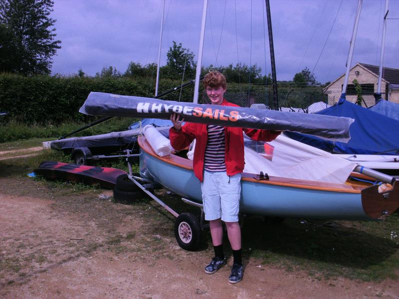 Alexander Baxter with his brand new set of Firefly racing sails