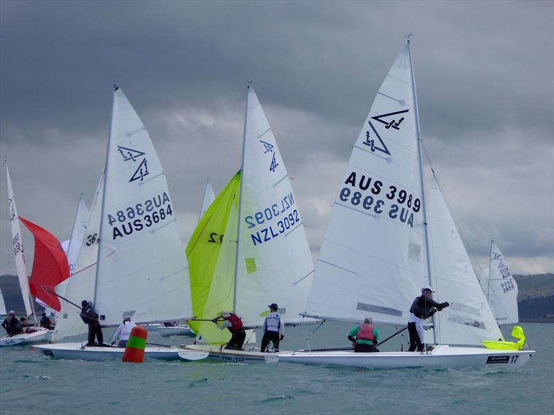 Gate rounding on day 2 of the Flying Fifteen Worlds at Napier - photo © Jonny Fullerton