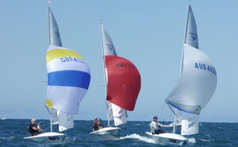 The leaders during race 5 on day 4 of the Flying Fifteen Worlds at Napier photo copyright Jonny Fullerton taken at Napier Sailing Club and featuring the Flying Fifteen class