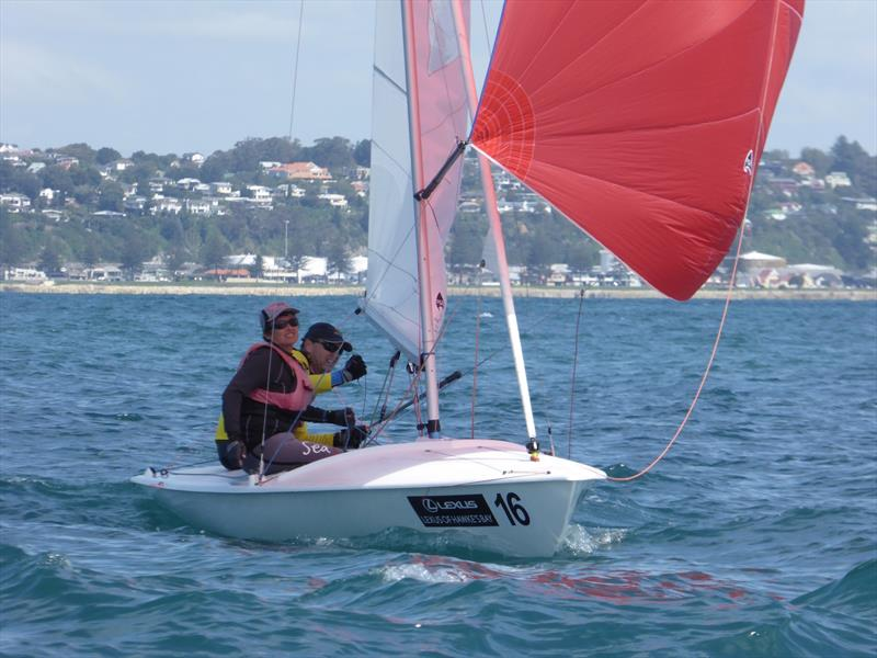 Nick and Janet Jerwood on day 5 of the Flying Fifteen Worlds at Napier photo copyright Jonny Fullerton taken at Napier Sailing Club and featuring the Flying Fifteen class