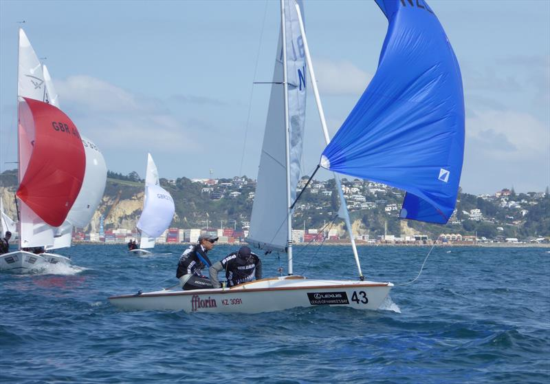 Percy and Pedersen (NZL) on day 5 of the Flying Fifteen Worlds at Napier photo copyright Jonny Fullerton taken at Napier Sailing Club and featuring the Flying Fifteen class