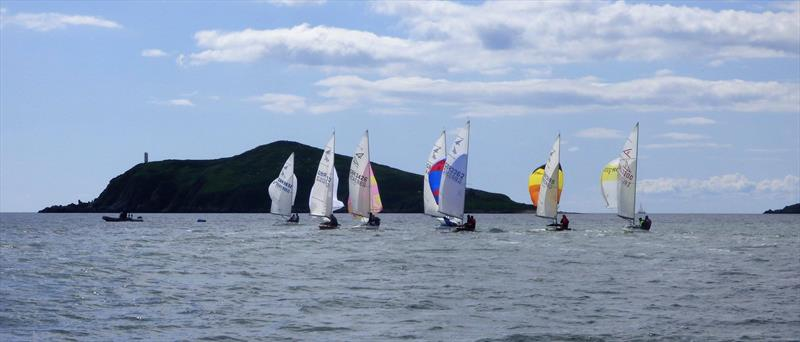The Flying Fifteen fleet heading for Heston Island during Solway YC Kippford Week photo copyright Becky Davison taken at Solway Yacht Club and featuring the Flying Fifteen class