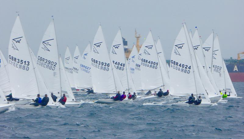 Startline on the final day at CARRS Land Rover Flying Fifteen UK Nationals at Falmouth photo copyright Jonny Fullerton / FFI taken at Royal Cornwall Yacht Club and featuring the Flying Fifteen class
