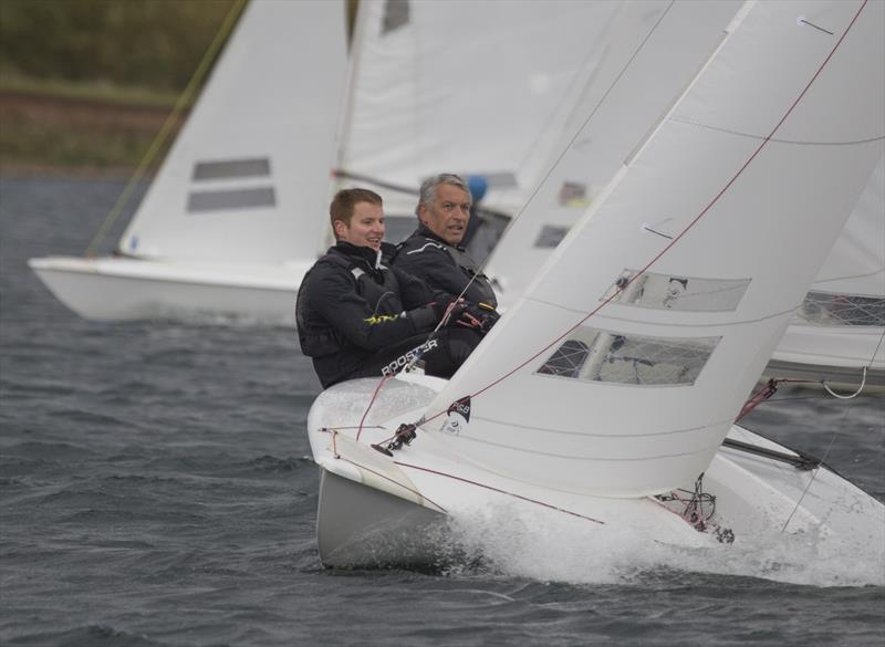 Dave and Andy McKee leading the fleet at windward mark during the Notts County Flying Fifteen Open photo copyright David Eberlin taken at Notts County Sailing Club and featuring the Flying Fifteen class