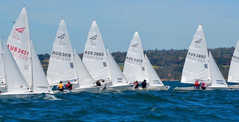 Day 3, fleet start – Flying Fifteen Australian Championships at Mornington YC photo copyright Sonja Dowdle taken at Mornington Yacht Club and featuring the Flying Fifteen class
