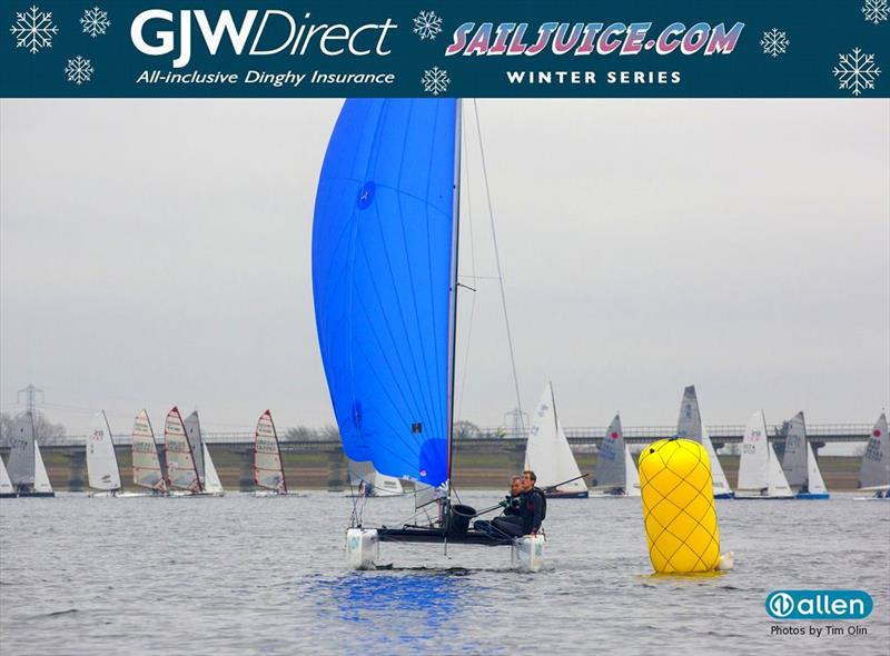 Will Sunnucks and Freddie White finish 15th in their F18 at the GJW Direct SailJuice Winter Series Datchet Flyer - photo © Tim Olin / www.olinphoto.co.uk