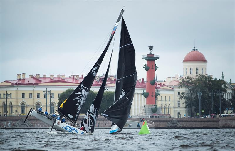 Gazprom Team Russia nose dive on day 1 of  Extreme Sailing Series™ Act 5, St Petersburg - photo © Lloyd Images