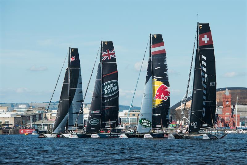Light winds on Extreme Sailing Series™ Act 6, Cardiff day 4 - photo © Vincent Curutchet