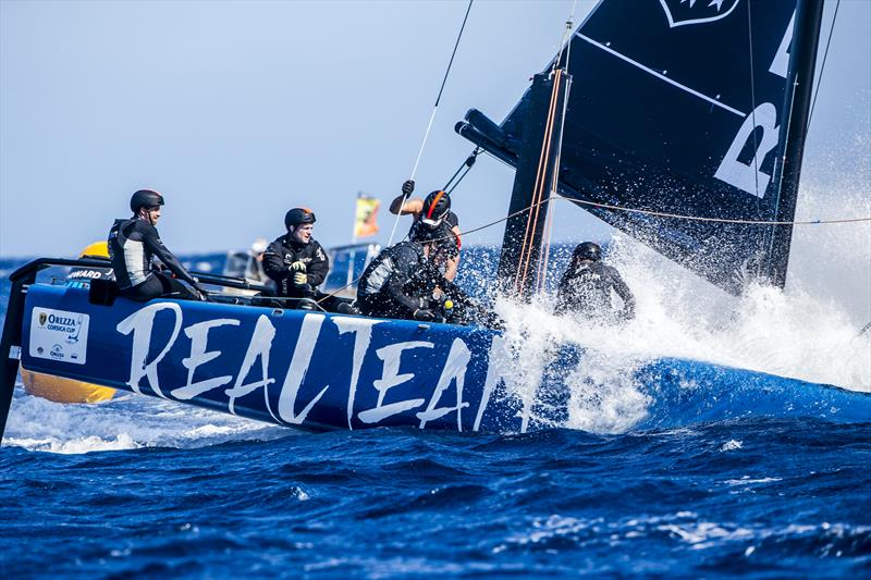 Realteam, overall leader after day 1 of the GC32 Racing Tour Orezza Corsica Cup photo copyright Jesus Renedo / GC32 Racing Tour taken at  and featuring the GC32 class