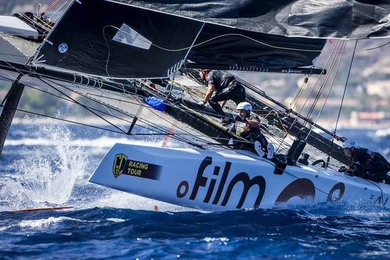 Simon Delzoppo's .film Racing split seconds before nearly going critical on day 2 of the GC32 Racing Tour Orezza Corsica Cup - photo © Jesus Renedo / GC32 Racing Tour