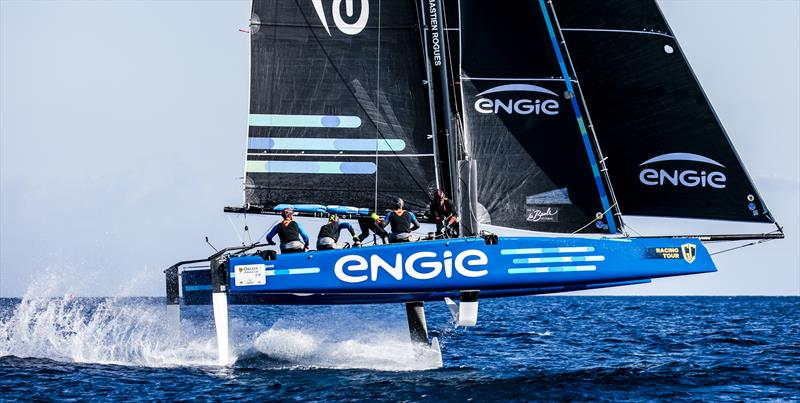 Sebastien Rogues' Team ENGIE holds third place on day 2 of the GC32 Racing Tour Orezza Corsica Cup - photo © Jesus Renedo / GC32 Racing Tour
