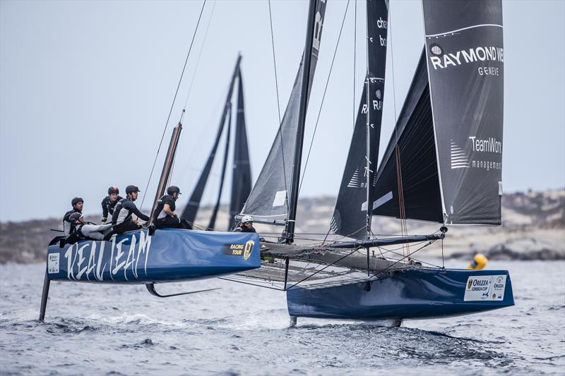 The Jérôme Clerc-skippered Realteam was fastest in the ANONIMO Speed Challenge on day 3 of the GC32 Racing Tour Orezza Corsica Cup - photo © Jesus Renedo / GC32 Racing Tour