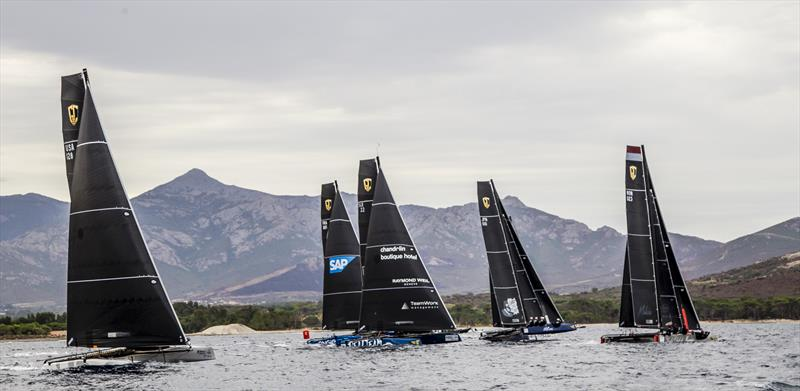 Tricky conditions on the Bay of Calvi again  on day 3 of the GC32 Racing Tour Orezza Corsica Cup - photo © Jesus Renedo / GC32 Racing Tour