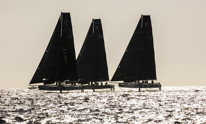 Dramatic late afternoon lighting is a feature on day 1 of Marseille One Design - photo © Jesus Renedo / GC32 Racing Tour
