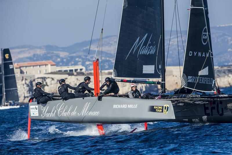 Pierre Casiraghi's Malizia - Yacht Club de Monaco claimed today's final race on day 1 of Marseille One Design - photo © Jesus Renedo / GC32 Racing Tour