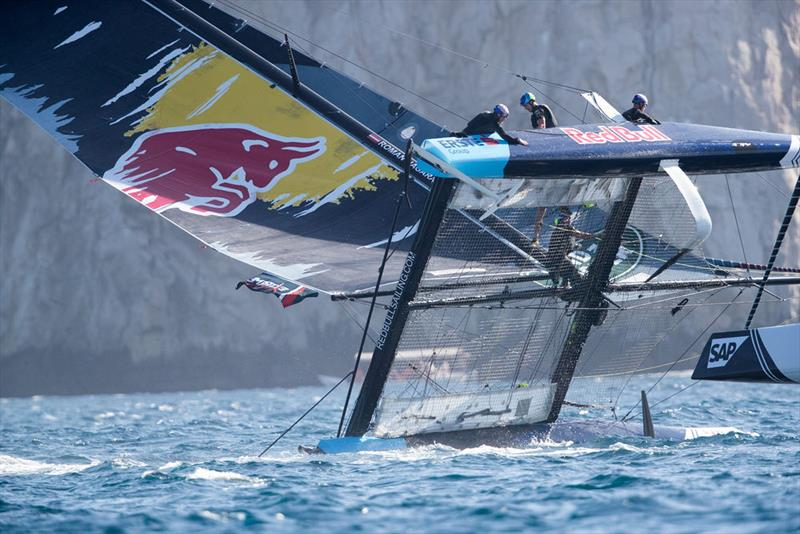 Red Bull Sailing Team almost capsized but made an impressive recovery on the opening day in Los Cabos, Mexico. - photo © Lloyd Images