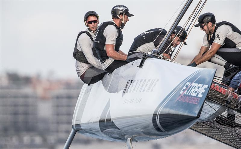 Emirates Team New Zealand America's Cup champion Josh Junior was able to keep NZ Extreme Sailing Team ahead of Land Rover BAR Academy. - photo © Lloyd Images
