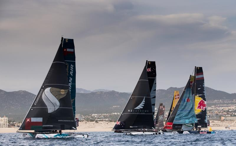 The Extreme Sailing Series 2017. Act 8. 30th November- 3rd December 2017. Los Cabos Mexico, Cabo San Lucas Resort. Pictures of the fleet of race yachts crossing the start line on day 2 of racing close to Los Cabos - photo © Lloyd Images