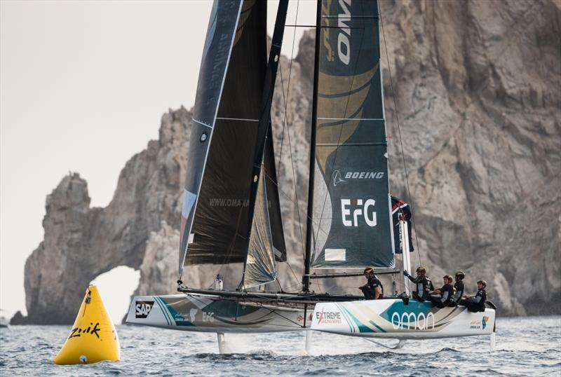 The Extreme Sailing Series 2017. Act 8. Los Cabos Mexico, Cabo San Lucas Resort. The 'Oman Air' race team shown in action close to the shore, skippered by Phill Robertson (NZL) with team mates Pete Greenhalgh (GBR), Ed Smyth (NZL/AUS), James Wierzbowski - photo © Lloyd Images