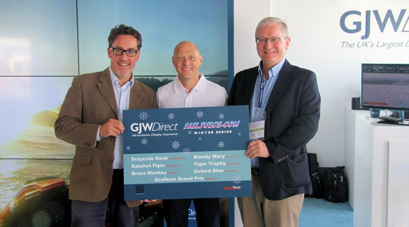 The GJWDirect SailJuice Winter Series 2017/18 is launched (l-r) Andy Rice, Glen Wallis & Simon Lovesey photo copyright Mark Jardine / YachtsandYachting.com taken at  and featuring the  class