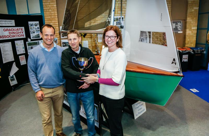 Mark Jardine (left) and Sarah Treseder (right) with Concours d'Elegance winner John Clementson and his Graduate dinghy 'Eclipse' - photo © Paul Wyeth / RYA