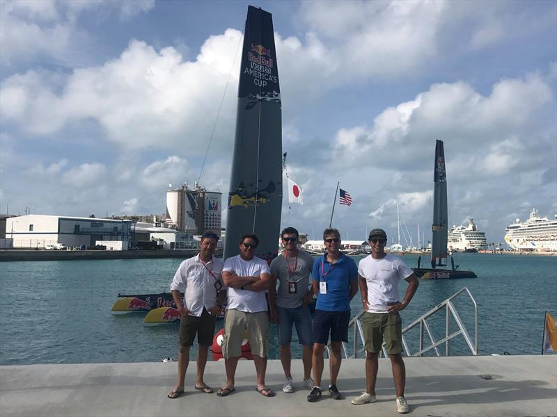 The team after completing the branding of eight AC45Fs - photo © Grapefruit Graphics
