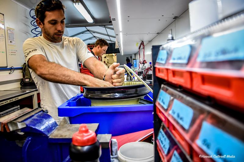 Harken Tech Team busy during Volvo Ocean Race assembly period - photo © Hannah Cottrell Media